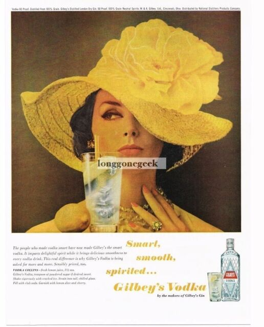1963 Gilbeys Vodka Woman Wearing Big Yellow Hat Vtg Print Ad Ebay