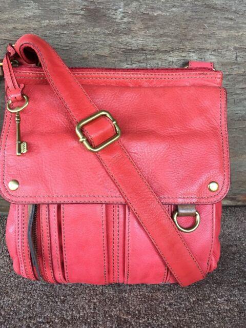 Fossil Morgan Women S Leather Traveler Crossbody Bag C Pink Red