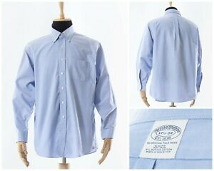 Mens-BROOKS-BROTHERS-Button-Down-Shirt-Long-Sleeve-Blue-Size-2XL-XXL-17-1-2-34