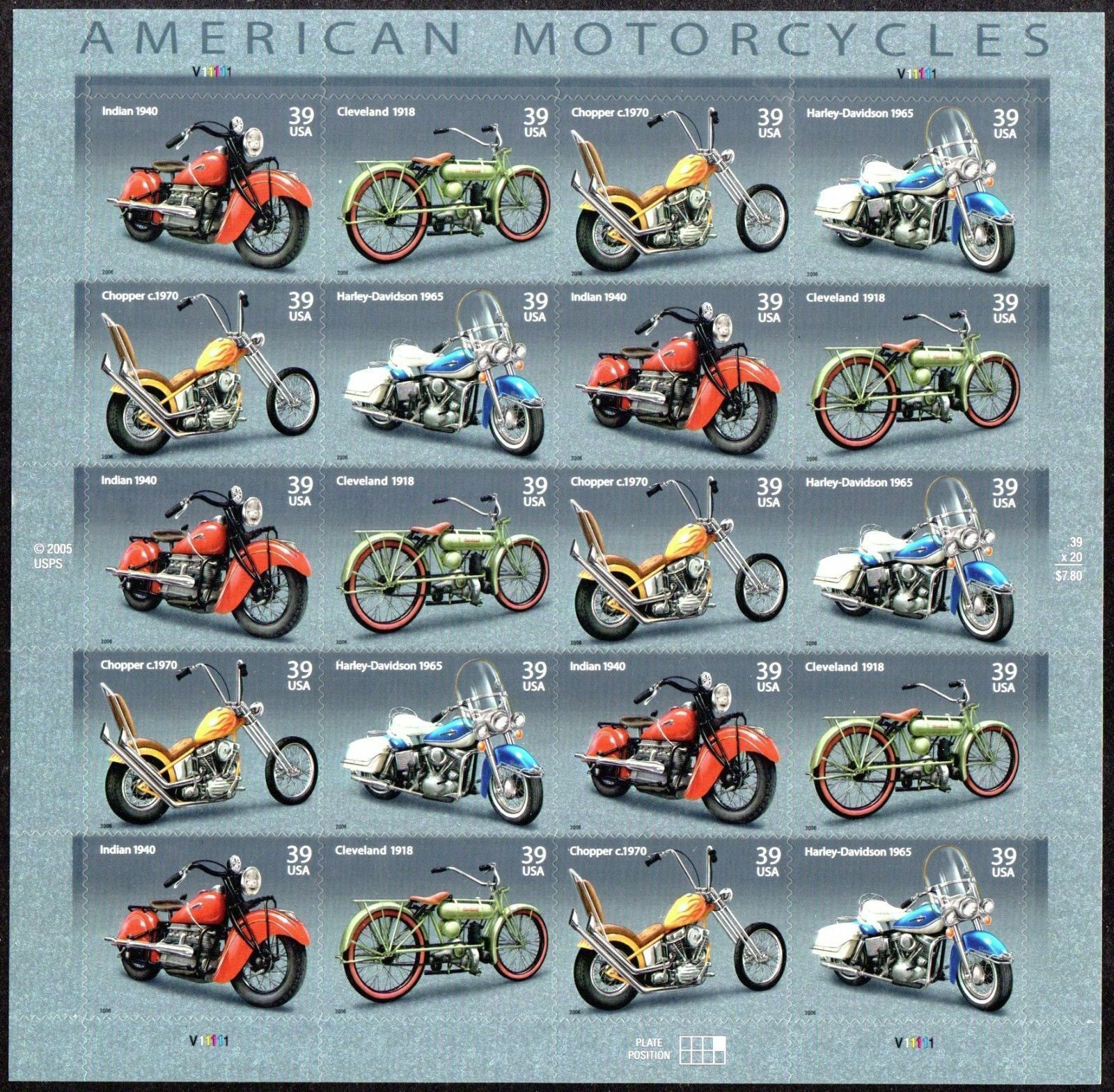 2006 39c American Motorcycles, Indian, Sheet of 20 Scot