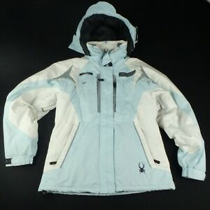 Spyder-Womens-M-Ski-Snowboard-Jacket-Winter-Snow-Baby-Blue-White-Coat