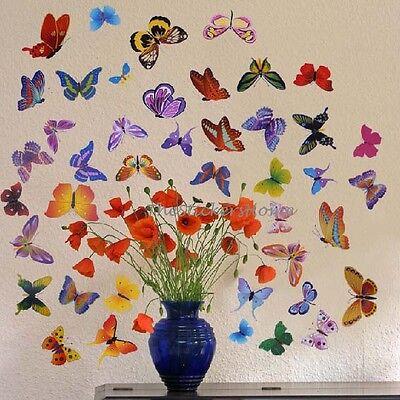 42 Colourful Butterflies Wall Stickers Girls Room Art Decal TRANSPARENT Reusable