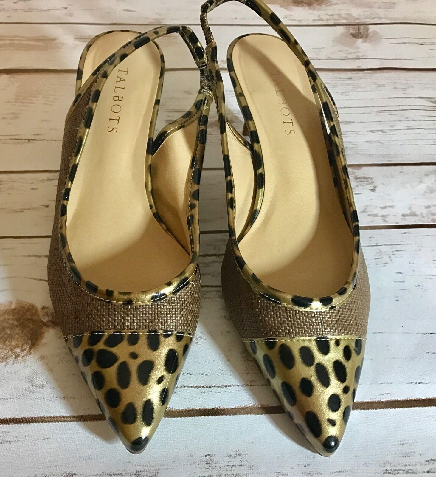 Talbots  shoes gold Leopard  Sling Back Kitten Heels Sz 7.5