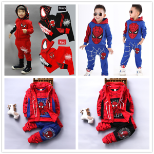 Kids-Baby-Boys-Spider-Man-Outfits-Coat-Long-Sleeve-T-Shirt-Pants-Clothes-Set