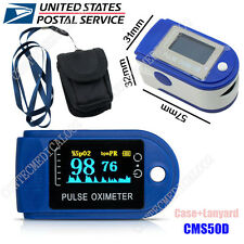 FDA Cleared Fingertip LED Pulse Oximeter CMS-50D in Blue with Case and Lanyard