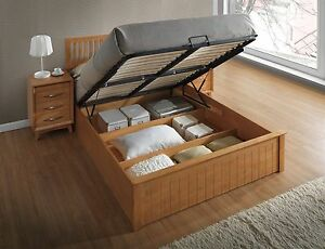 Image Is Loading Solid Wooden Ottoman Gas Lift Up Storage Bed