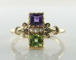 DAINTY-9K-9CT-GOLD-SUFFRAGETTE-AMETHYST-PERIDOT-PEARL-ART-DECO-INS-RING