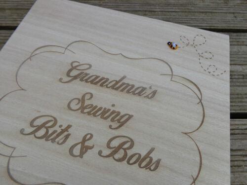 Personnalisé gravé en bois couture//bijou boîte de rangement sewing bee