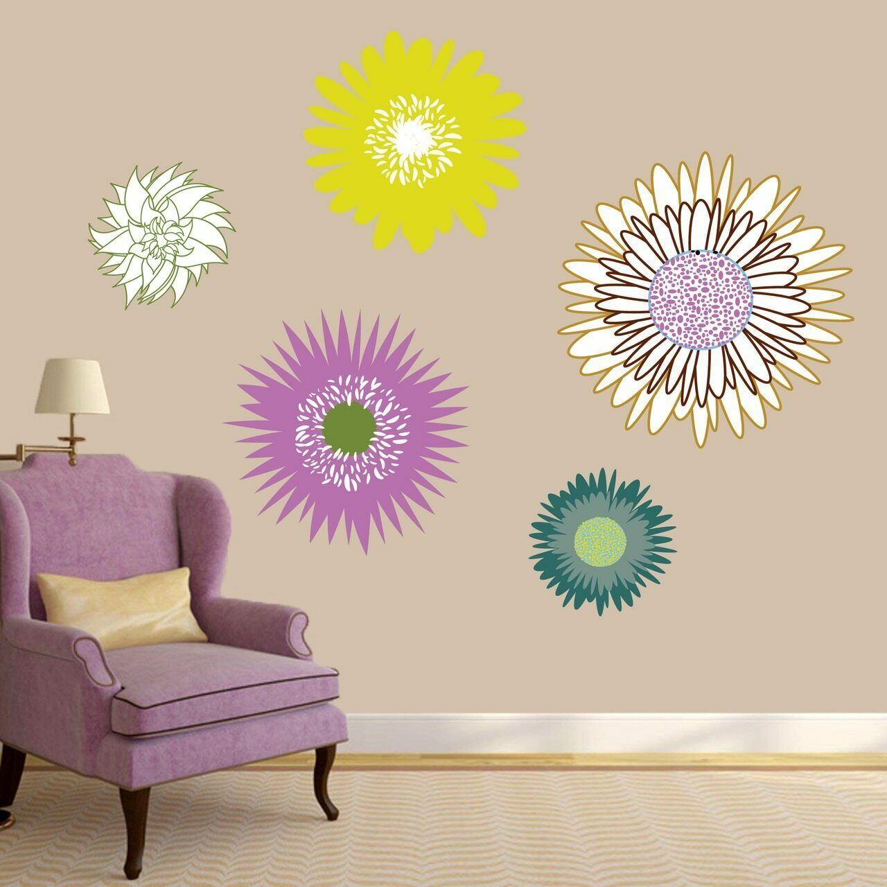 Wildflowers Printed Wall Decal Set - Flowers, Printed Decal, Wall Accent, Decal