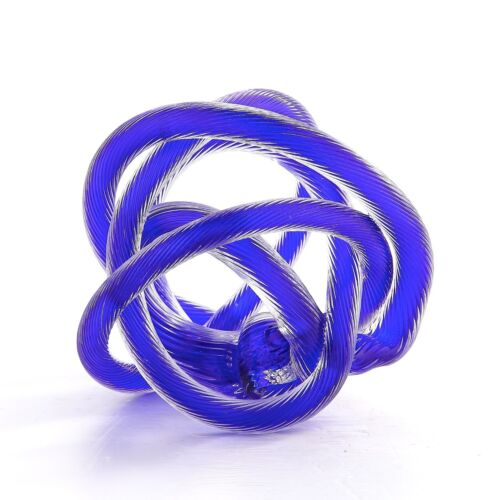 "New 6/"" Hand Blown Art Glass Knot Sculpture Figurine Abstract Blue"