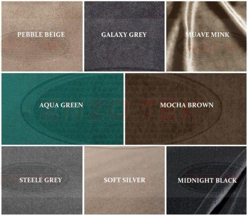 Plain Matt Velvet Upholstery Fabric by Metre /& Samples Various Colours