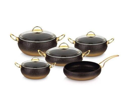 OMS ustensiles de cuisine 7 pièces Antiadhésif GRANIT cuivre set couvercle en verre Casserole Pan Pot