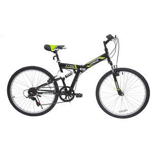 26-034-Folding-Mountain-Bike-7-Speed-Bicycle-Shimano-Hybrid-Suspension-Sports-Green