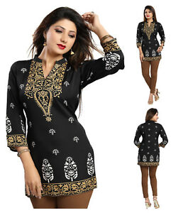 WOMEN-FASHION-INDIAN-MINI-KURTA-KURTI-TUNIC-TOP-SHIRT-3-4-Sleeve-MI570-BLACK