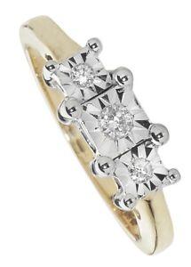 Anillo De Diamante Compromiso Piedra tres Oro Blanco Trilogía tasación Certificado