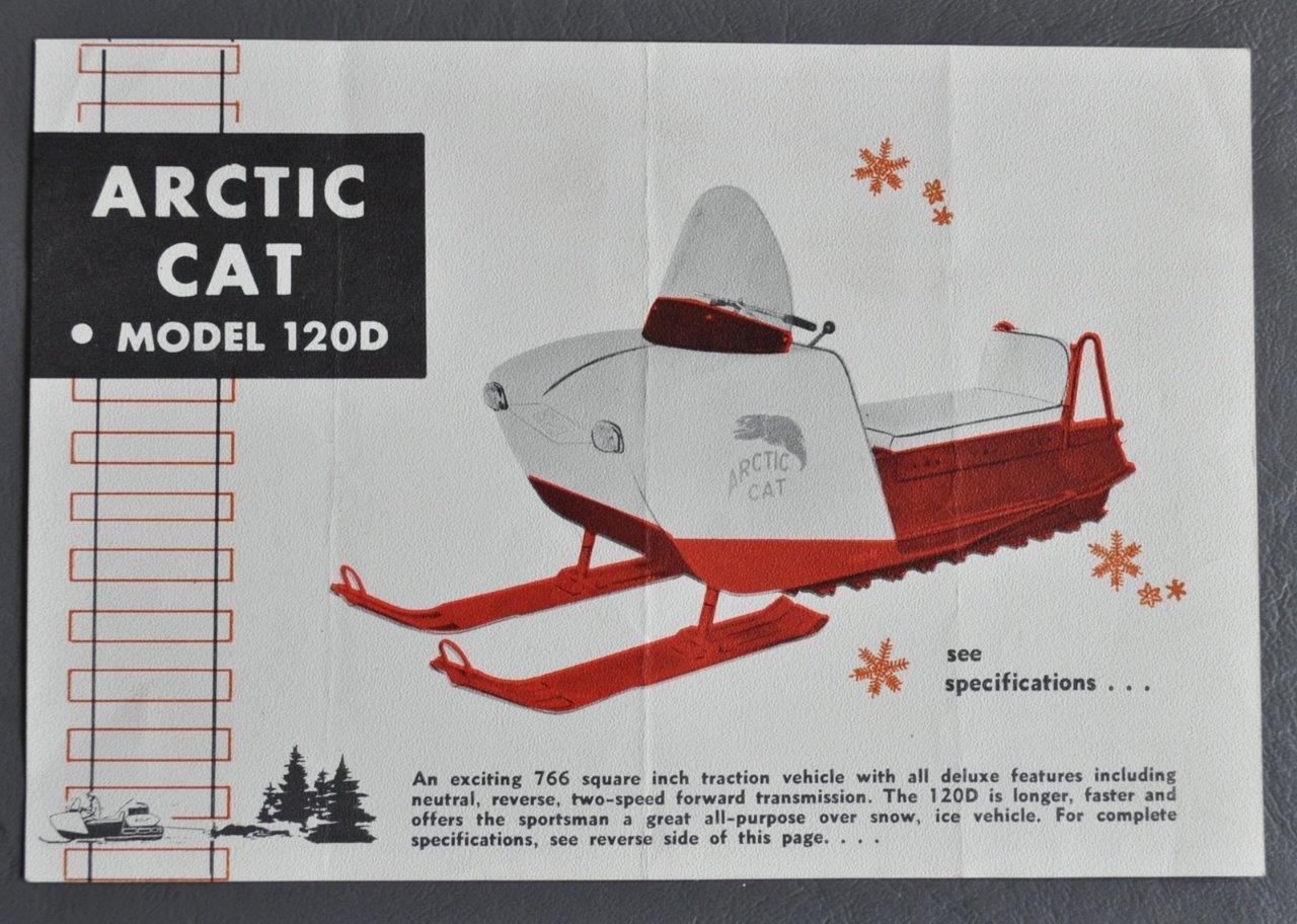 RARE 1965 ARCTIC CAT SNOWMOBILE MODEL 120D SALES BROCHURE SINGLE PAGE 5  X 7