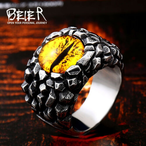 Fashion Punk Ring Tiger Devil Eye Stone Dragon Skull Stainless Steel Men Biker
