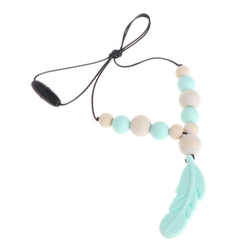 Baby Silicone Teether Chain Charm Feather Beads Necklace Teething Toy Jewelry