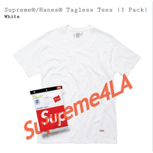 Pack of 3 Supreme Hanes Tagless Tees Pack Size XL White 1000/% Authentic