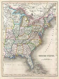 GEOGRAPHY MAP ILLUSTRATED ANTIQUE GILBERT USA LARGE POSTER ART PRINT