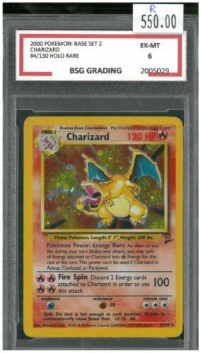 Charizard - 4/130 - Holo Rare Base Set 2 ~ BSG Graded 6