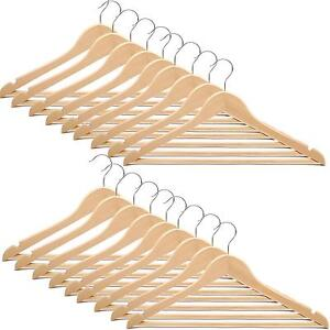 WOODEN-COAT-HANGERS-SUIT-TROUSER-GARMENTS-SHIRT-TSHIRTS-HANGER-CLOTHES-WARDROBE