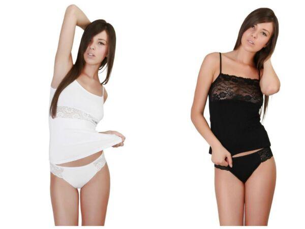 Uniconf 4-er Damen Unterwäsche Unterhosen Classic Bikini Slips mit Spitze NEU