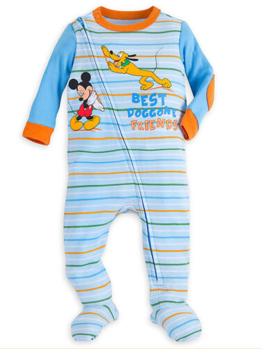 6-9 Months Disney Store Baby Boys Mickey Mouse and Pluto Stretchie Sleeper
