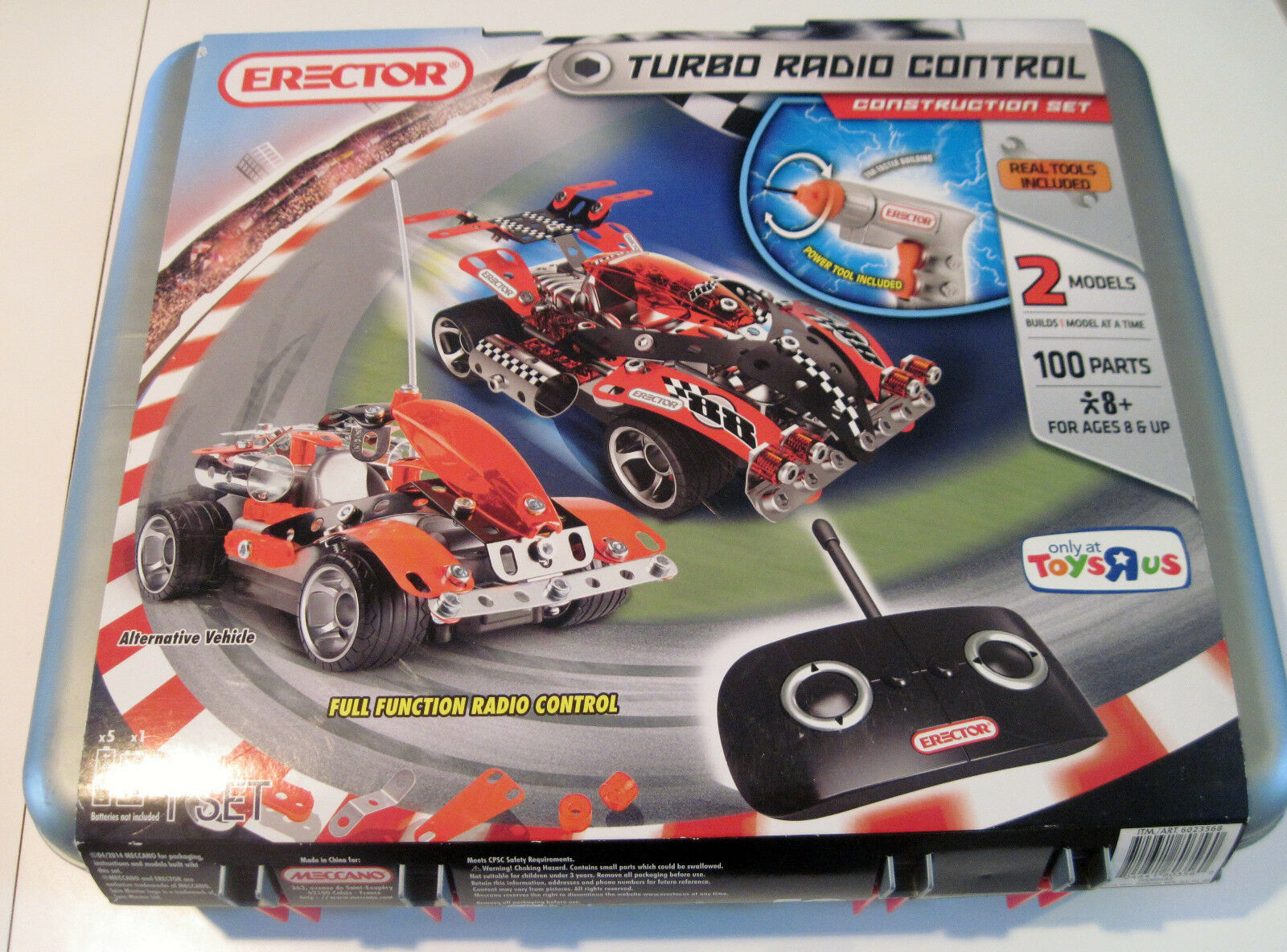 Erector Turbo Radio Control Construction Set in Red HARD CASE, Tear in Cover