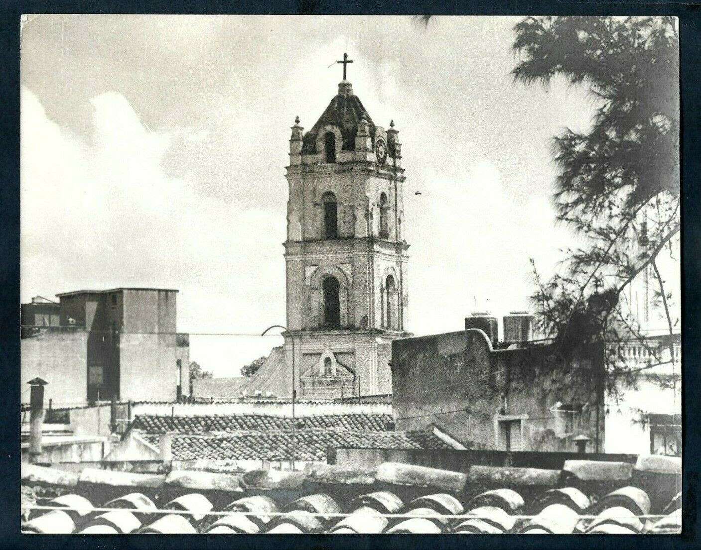 SPAIN COLONIAL HERITAGE CLOCK TOWER & TILE ROOFS CUBA 1960s VINTAGE Photo...
