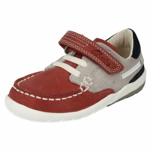 BOYS TODDLER CLARKS SOFTLY FLAG HOOK /& LOOP CASUAL DECK FIRST WALKING SHOES SIZE