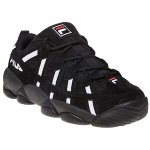 Details about New Girls Fila Black Spaghetti Low Leather Trainers Chunky  Lace Up