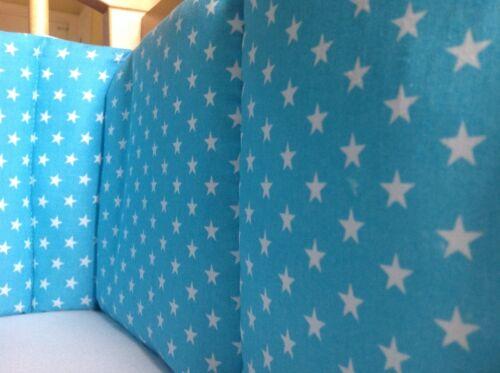 Cushi cots boys swing crib bumper white stars on aqua blue new