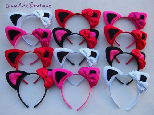 12 Lot Kitty Cat Bow Colorful Ears Headband Costume Halloween Cats