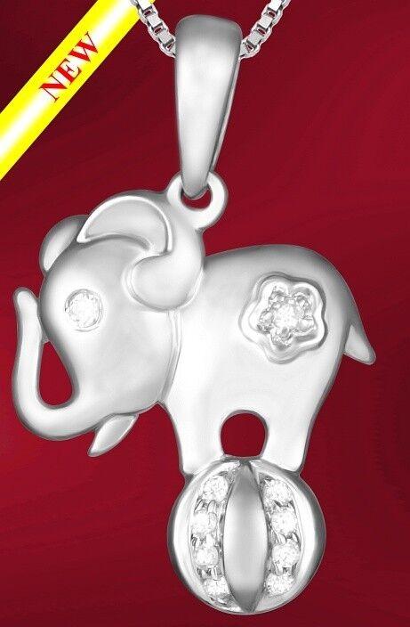 ELEPHANT  PENDANT CHARM 14K WHITE gold & DIAMONDS (028)