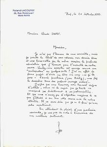 lettre manuscrite TRES BELLE LETTRE MANUSCRITE ( 19 LIGNES ) DE ROLAND LACOURBE A  lettre manuscrite