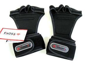 Weight Lifting Glove Wristband Strap Grip Bodybuilder Exercise Health Gym Black