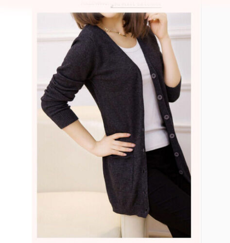 Women Ladies Wool Cashmere V Neck Stretch Knit Sweater Cardigans Hot Coats Zsell