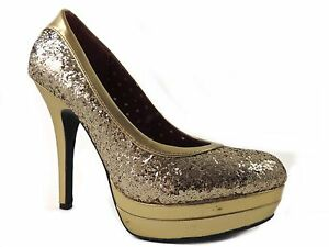 77210be0ab018 Baby Phat Women's Chance Platform Pumps Gold Glitter Size 7 M | eBay