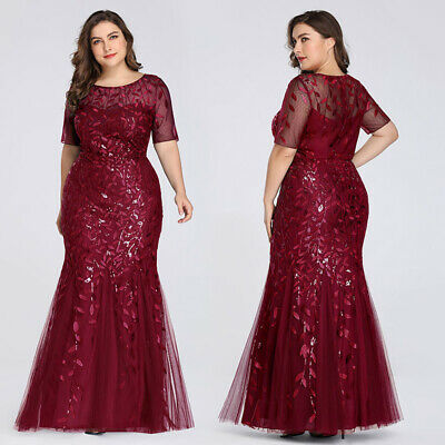 Ever-Pretty US Plus Size Bodycon Gowns Long Sequins Glitter Evening Dress 07988