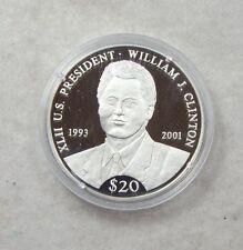 William J.Clinton Republic of Liberia $20  .999 PROOF SILVER Art Round w/COA