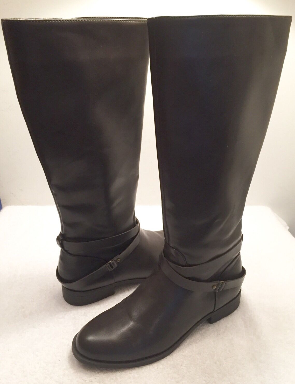 "Women's Size 8.5 M CHAPS Brand ""Jeri"" Brown Mid-Calf Zip Up Riding Fashion Boots"