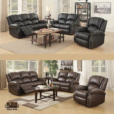 3+2+1 Gold Thread Recliner Sofa Set Leather Loveseat Couch Living Room  Furniture