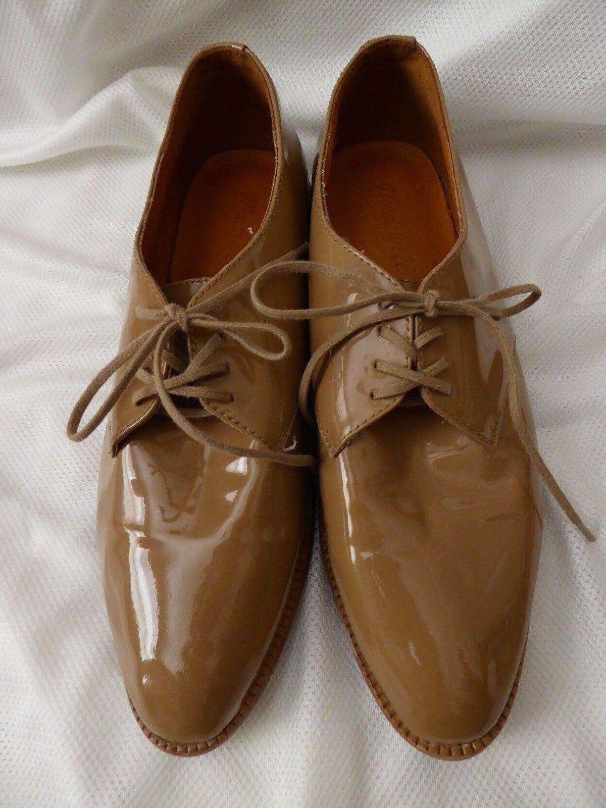 Madewell femmes Taille 7 la Bobbie Oxford en cuir verni à lacets marron clair beige foncé