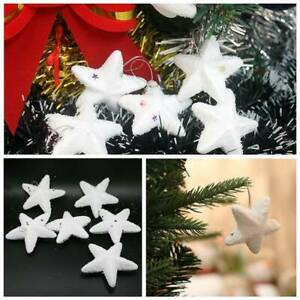 6-30Pcs-Christmas-Tree-Decoration-Frosted-White-Star-Glitter-Hanging-Ornaments
