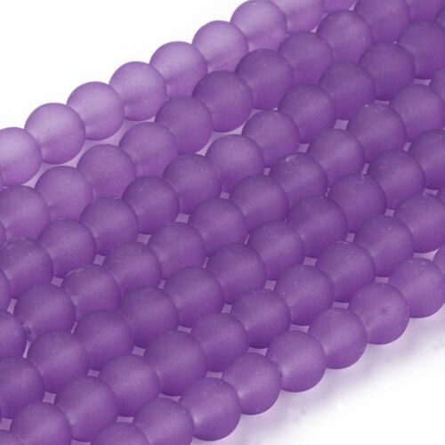 140 x 6mm Strand Violet Frosted Glass Round Beads