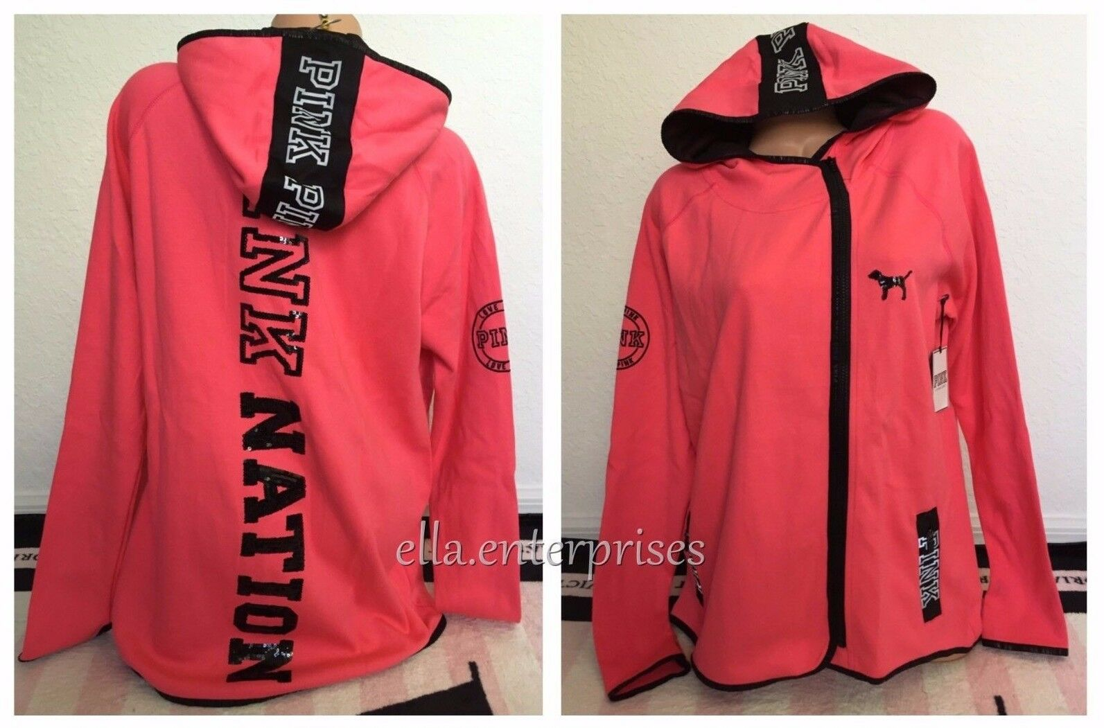 Victoria's Secret Pink Fashion Show 2015 Pink Nation High Low Bling Hoodie - L