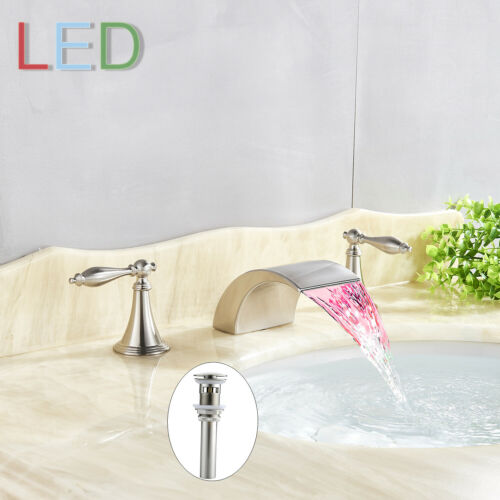"""LED Widespread 8/"""" Bathroom Basin Faucet Waterfall Tub Sink Mixer Tap with Drain"""