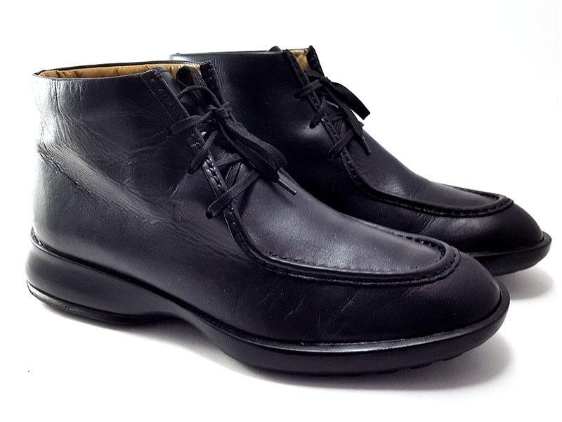 Tod'S Cuero Negro botas al tobillo, cordón Ups, Zapatos de hombre nos