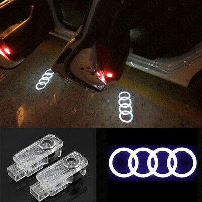 4X LED Sline Projector Logo Door Light Bulbs For AUDI A4 A5 A6 A7 A8 A3 Q7 Q3 Q5